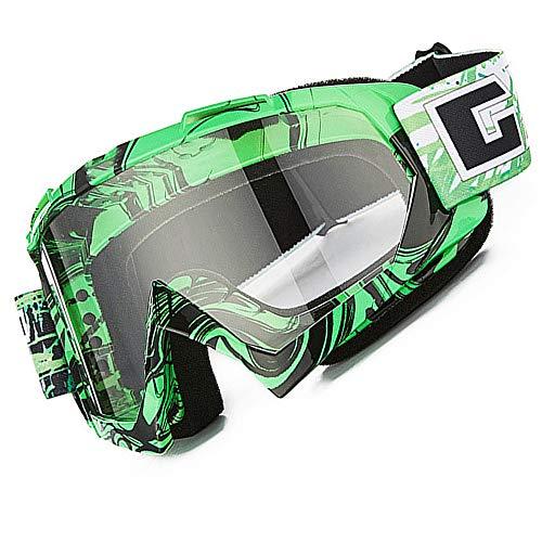 Gafas de motocross, Motocicleta Anti viento Polvo UV Dirt Bike Racing Riding Ciclismo Esquí Gafas al aire Libre Gafas para adultos jóvenes (Marco verde + Lente transparente)
