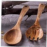 Amoyer 2pcs Cucina Cucina Cucchiaio Minestra Mestolo di Legno Forcella Insalata Server Serving Cucchiaio di Legno per Casa Tavola