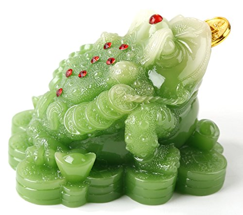 Feng Shui Green Color Money Frog (Three Legged Wealth Frog or Money Toad) Statue Car Dashboard Decoration, Attract Wealth and Good Luck