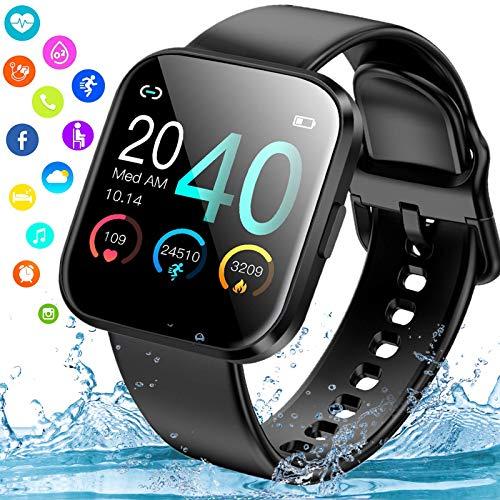 Smartwatch, Reloj Inteligente Hombre Mujer Ip67 Impermeable con Pulsómetro Presión Arterial Monitor de Sueño, Smart Watch Pulsera Actividad Relojes Deportivos con Caloría Podómetro para Android iOS