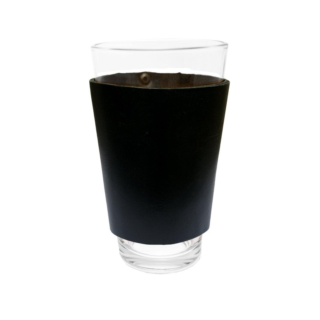 Funda para Pinta de Cerveza de Cuero sin Agarrador Hecho a Mano por Hide & Drink : Negro: Amazon.es: Hogar