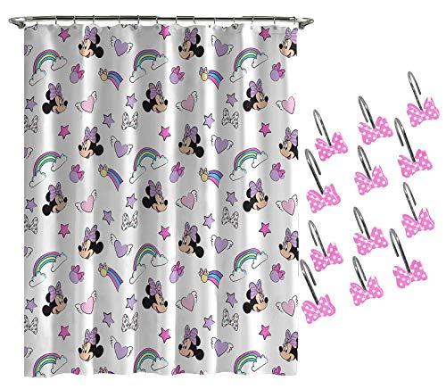 Disney Minnie Mouse Unicorn Shower Curtain & 12-Piece Hook Set & Easy Use - Kids Bath (Official Disney Product)