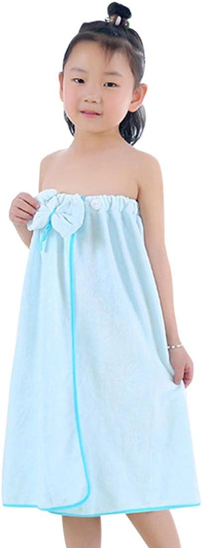 Freahap Kids Bathrobe Girls Bath Towel Wrap Shower Skirt Tube Dressing