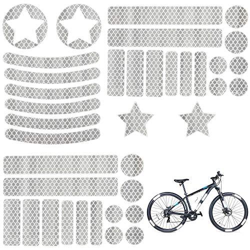 Xingsky 38 Stück Reflektoren Aufkleber Sticker,Aufkleber Fahrrad,Reflexfolie Set Speichenreflektoren Geeignet für Kinderwagen, Fahrräder und Helme Usw