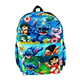 "Lilo And Stitch Deluxe Oversize Print Large 16"" Backpack with Laptop Compartment - A19563"