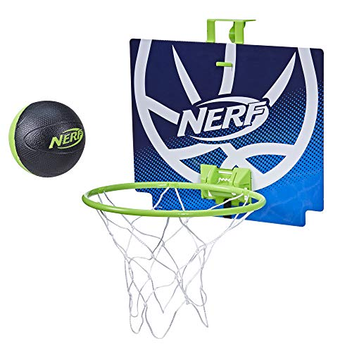 NERF Nerfoop -- The Classic Mini Foam Basketball and Hoop -- Hooks On Doors -- Indoor and Outdoor Play -- A Favorite Since 1972