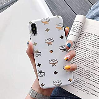Luxury Designer Classic Monogram Vintage Style Card 10 Holder for iPhone Full Protection case for iPhone 6 6S 7 8 Plus X XS XS Max XR (White, iPhone X)
