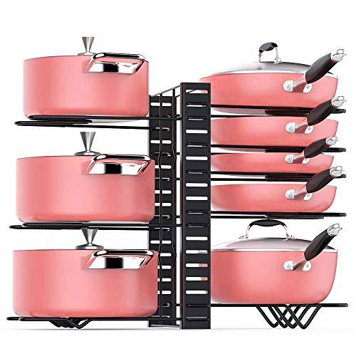 Organizador de ollas TOPNUEVO, 3 métodos de bricolaje, altura ajustable, organizador de utensilios de cocina y soporte de tapa de olla (negro)