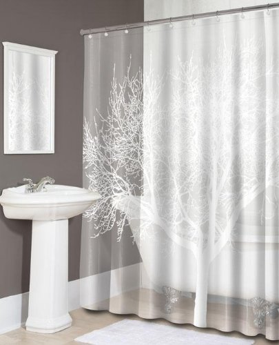stylish elegant white tree shower curtain