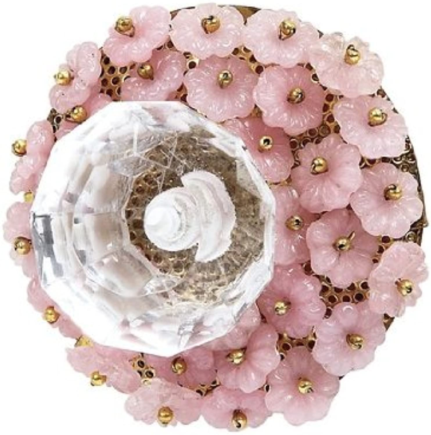 Jubilee Collection 155003 Flower Beads Glass Center Knob, Opaque Pink