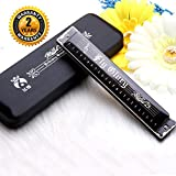 Best Harmonica C Key 24 Holes Major Diatonic Double Tremolo Beginner Harmonicas for Sale Musical Instrument Accessories Black with Case