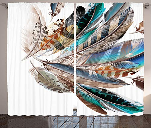 """Ambesonne Feathers Curtains, Vaned Types and Natal Contour Flight Bird Feathers and Animal Skin Element Print, Living Room Bedroom Window Drapes 2 Panel Set, 108"""" X 96"""", Teal Brown"""