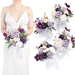 Silk Flower Arrangements Ling's moment Lavender&Cream 7 Inch Artificial Flowers Wedding Bouquet for Bridesmaids,Set of 4,Bouquets for Bride,Wedding Arch Flowers,Bridal Shower,Centerpiece,Party and Wedding Ceremony Anniversary