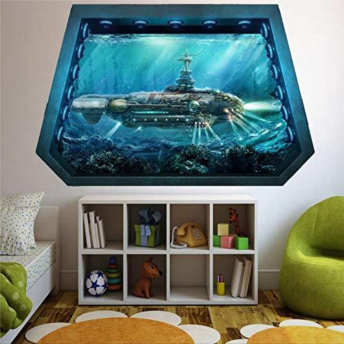Nautilus U-Boot Unter dem Meer 3D-Wandbild, zerbrochene Wand, kreatives abnehmbares Poster, Wandaufkleber, Vinyl-Aufkleber für Schlafzimmer, Wohnzimmer, Spielzimmer, Kinderzimmer, Büro, Geschäft