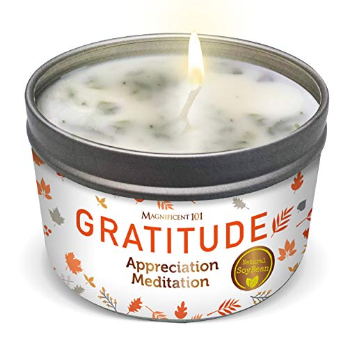 MAGNIFICENT 101 Gratitude Aromatherapy Candle for an Appreciation Meditation - Sage, Rose, Jasmine, Lavender Scented Natural Soybean Wax Tin Candle for Purification and Chakra Healing