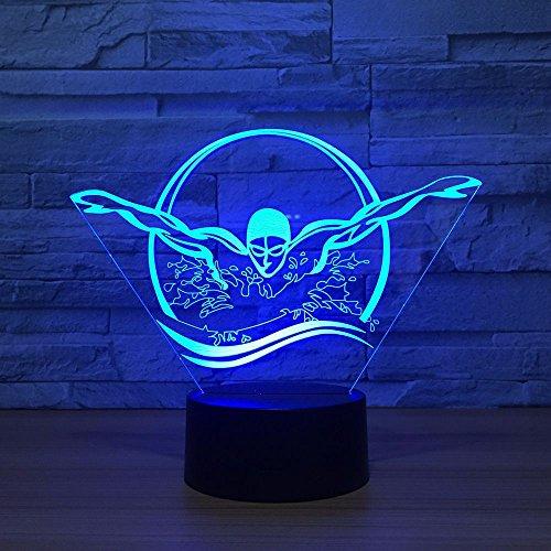 3D Schwimmen Nachtlicht USB Bunte visuelle LED Tischlampe Touch Button Schlaflicht Geschenke Schlafzimmer Dekor