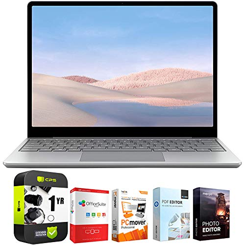 """Microsoft Surface Laptop Go 12.4"""" Intel i5-1035G1 8GB/128GB Touchscreen, Platinum Bundle w/Elite Suite 18 Software (Office Suite Pro, Photo Editor, PDF Editor, PCmover Pro) + 1 Year Protection Plan"""