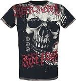 Rock Rebel by EMP Camiseta con Calavera Hombre Camiseta Negro XL, 100% algodón, Regular
