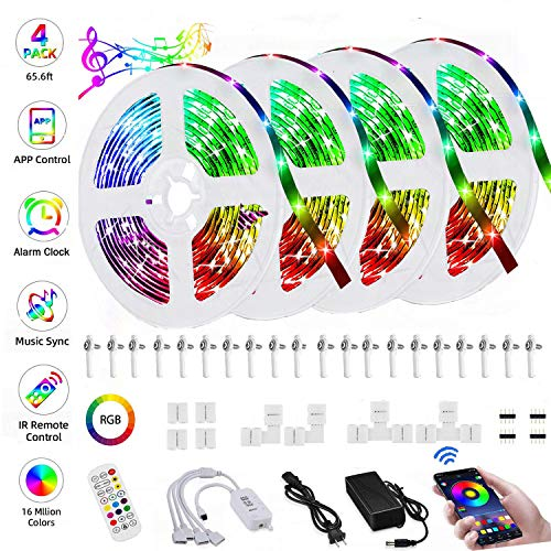 LED Strip Lights,LIGHTOTECH 65.6ft LED Light Strip 5050 RGB Music Sync Color Changing Strip Light Kit with Controller,Power Supply,24Keys IR Remote for Bedroom Party TV Kitchen Home Decoration¡