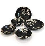 Japanese Ceramic Ware ,MINO-YAKI. Dinner Plates Set. SAKURA Plates. Big Plates x 2 and Small Plates x 5