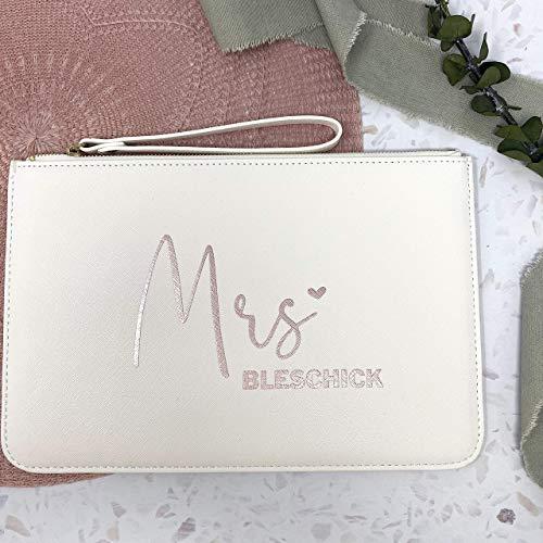 Handtasche Brauttasche Clutch - personalisiert weiß mit Wunschtext - auch schön für die Trauzeugin