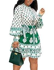 فستان GAGA النسائي قصير الأكمام من القطن مطبوع عليه زهور كاجوال متأرجحة على شكل حرف A