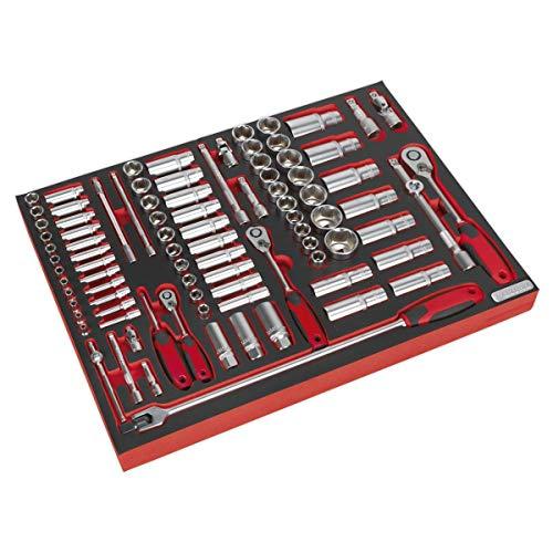 Sealey TBTP02-1/4-3 / vassoio portautensili da 8 pollici con set di presa attacco quadro 1/2-inch (91 pezzi)