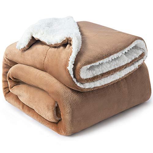 Bedsure Sherpa Fleece Blanket Throw Size Taupe Plush Throw Blanket Fuzzy Soft Blanket Microfiber