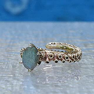 Octopus Tentacle Labradorite engagement ring in 10k and 14k yellow and white gold