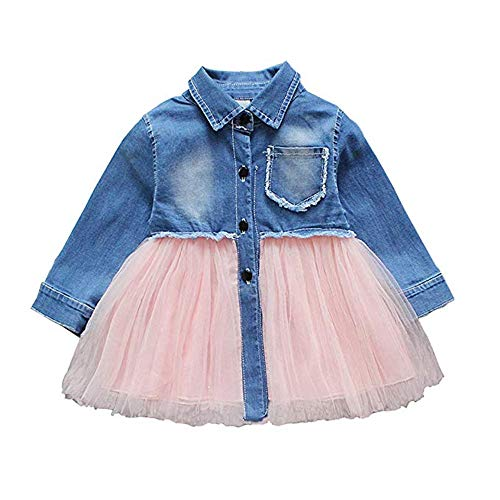 Toddler Infant Baby Girl Dress Denim Jeans Top Pink Tulle Tutu Dress Skirt Outfits (Long Sleeve-Jeans, 3T-4T)