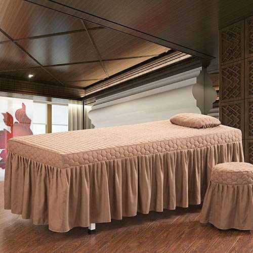 Quilted Massage Table Sheet Thicken Beauty Bed Cover with Holes Physiotherapy Bed Cover 1 Piece Massage Linens-Brown 80x190cm(31x75inch)