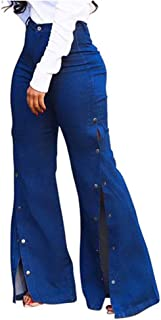 Lazapa Pocket Jean for Women, Large Size Sexy Fashion High Waist Button Split Denim Flare Jeans Casual Flowy Bell Bottom