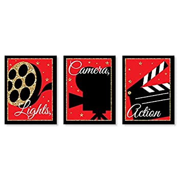 Big Dot of Happiness Red Carpet Hollywood - Movie Wall Art and Home Theater Room Decorations - Christmas Gift Ideas - 7.5 x 10 inches - Set of 3 Prints