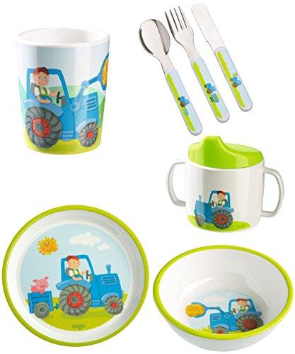 Haba Geschenkset Traktor 5-teilig mit Trinklerntasse Geburtsgeschenk, Taufgeschenk oder Mitbringsel