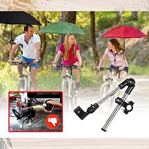 JUSHINI Fahrrad Klappschirmständer Edelstahl Schirmständer Hände Frei Schirmhalterung Kinderwagen Rollstuhl Regenschirmständer Foldable Flexible Radfahren Regenschirmhalter