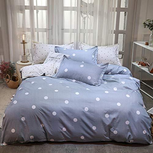 Lsdakoo Bettwäsche Bettbezug Set Jugendherberge Polyesterfaser 1 Bettbezug +1 Blatt + 2 Kissenbezüge Mit Reißverschluss Weißer Punkt Hellblauer Bettbezug 220X240Cm