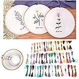 Oyunngs Juego de Agujas de Bordado de Seda de 50 Colores, punzonado de Cuatro Pegatinas de Tela con Accesorios, para Ropa, artesanías, Accesorios