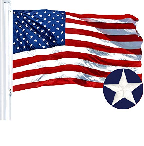 G128 - American USA US Flag 6x10 ft Embroidered Stars Sewn Stripes Brass Grommets (6X10 FT, US Flag)