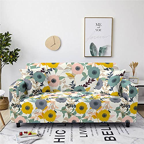 Super Stretch Sofa Covers Couch Covers Sofa Slipcovers for Sofas 1 Seater 3D Printed Yellow Sunflower Non Slip Slipcover Furniture Protector with Spandex Fabric Washable Sofa SetWhite