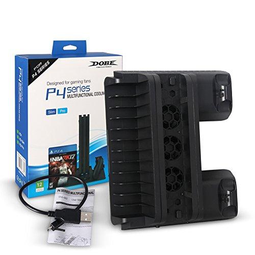 wji (1) Ventilador de refrigeración de Base PS4 SL-IM/Pro, con Soporte de Bandeja de Carga Doble, Base de refrigeración de Cargador USB