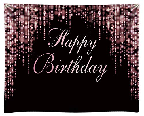 Funnytree 10x8ft Durable Fabric Happy Birthday Party Backdrop No Wrinkles Rose Golden Glitter Bokeh Sequin Spots Photography Background Pink Sparkle Shining Girl Lady Baby Banner Dessert Photo Booth