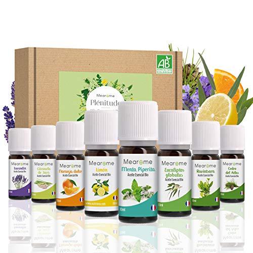 Set de Aceites Esenciales 100% Naturales Bio | Para Humificador Difusor, Aromaterapia | Menta, Eucalipto, Cedro de Atlas, Citronela, Naranja, Limón, Lavandín, Ravintsara | Mearome Fabricado en Francia 🔥