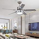42' de hierro de acero inoxidable hoja luz ventilador de techo, Ventilador de techo reversible con la luz y control remoto, acero inoxidable, conveniente for el dormitorio, sala de estar, de plata YZP