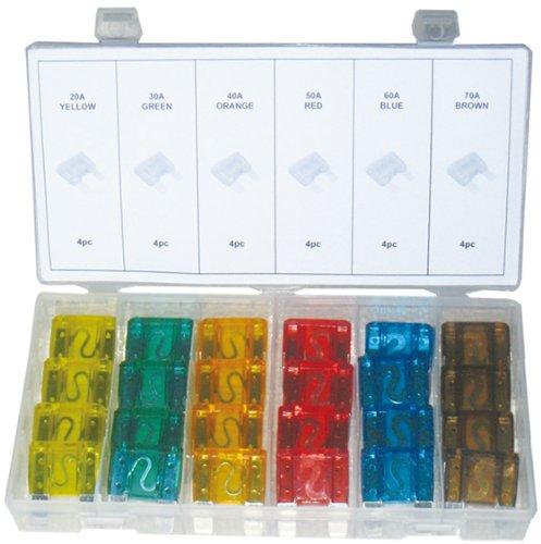 24 MAXI (GROßE) Typ FK3 Kunststoff Sicherungen Satz Flachsicherung Sicherung Sortiment 20 30 40 50 60 70 Amper (im Aufbewahrungsbox/Sortimentsbox)