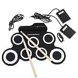 HXwsa Digital electrónico Roll Up Drum Kit Juego de Pastillas, USB portátil de Silicona 7 de ratón con Baquetas Pedal Toma de Auriculares No Altavoz Incorporado para Principiantes para niños