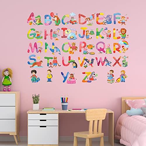 iBuuuy 26 pegatinas ABC del alfabeto de las aulas de los números de los animales pegatinas de pared desprendibles y pegan pegatinas de pared para niños, guardería, dormitorio, sala de estar