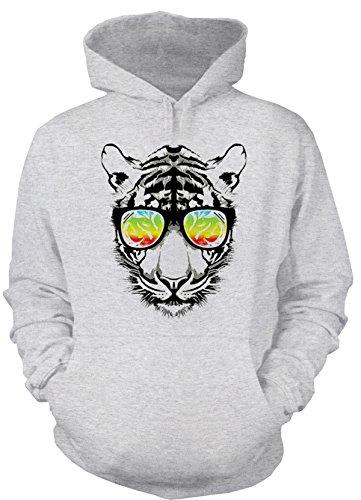 Goodman Design Herren Hoody mit Buntem Katzen Motiv: Retro Tiger mit Sonnenbrille - Kapuzenpullover, Farbe: grau