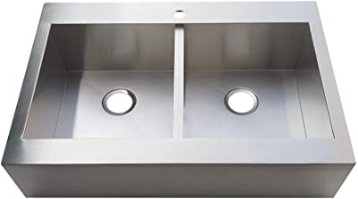 Kingston Brass GKTDF332491 Edinburg Drop-In 33 Inch Double Bowl Kitchen Sink, Brushed