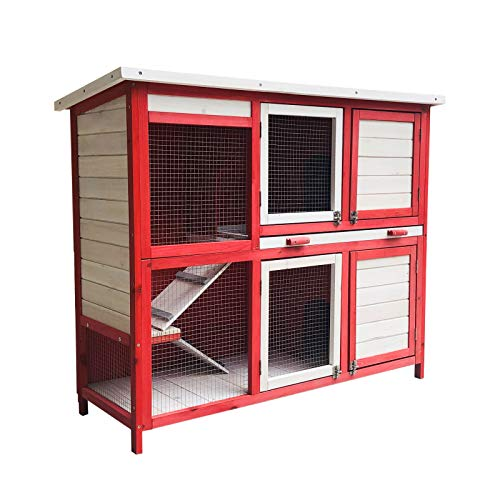 WilTec Conejera con Escalera y Dos Niveles Rojo y Blanco Caseta con Suelo extraíble y tejado Plegable