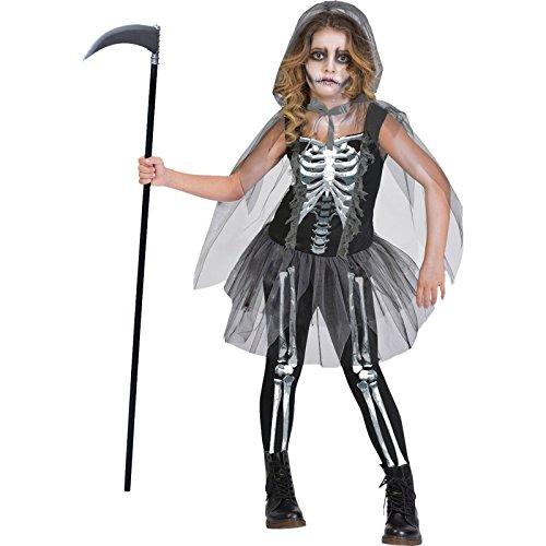 Knochenrasselnde Sensenfrau - Sensenmann Halloween Kostüm Kinder Mädchen Amscan